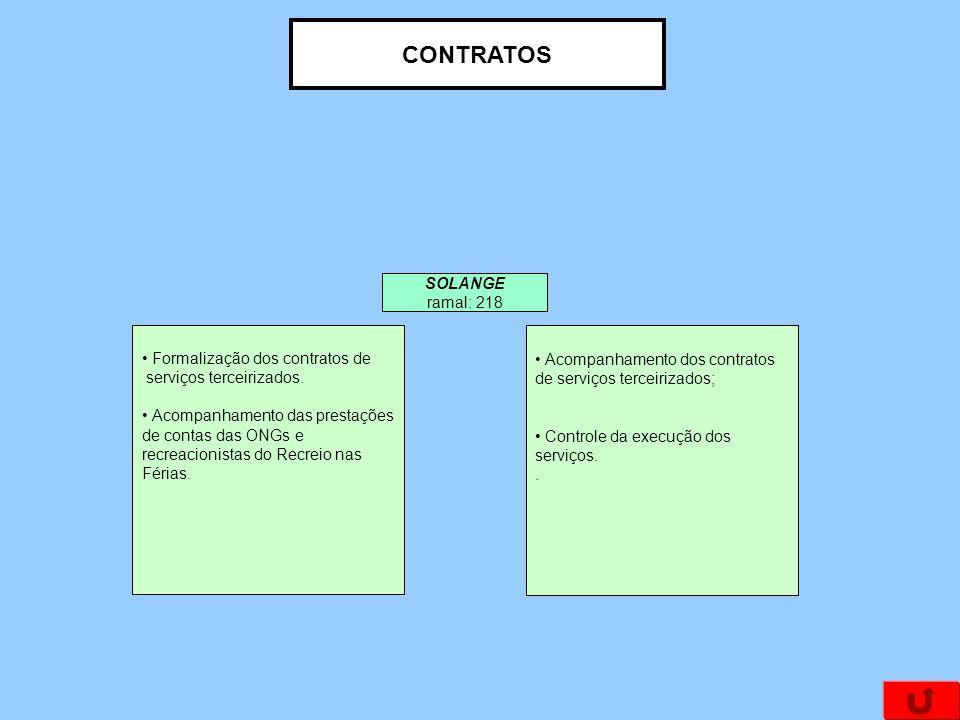 CONTRATOS Formalização dos contratos de serviços terceirizados. Acompanhamento das prestações de contas das ONGs e recreacionistas do Recreio nas Féri