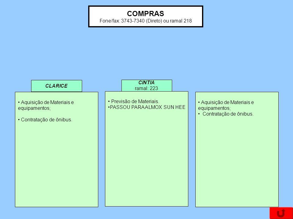 COMPRAS Fone/fax: 3743-7340 (Direto) ou ramal 218 Aquisição de Materiais e equipamentos; Contratação de ônibus. Aquisição de Materiais e equipamentos;