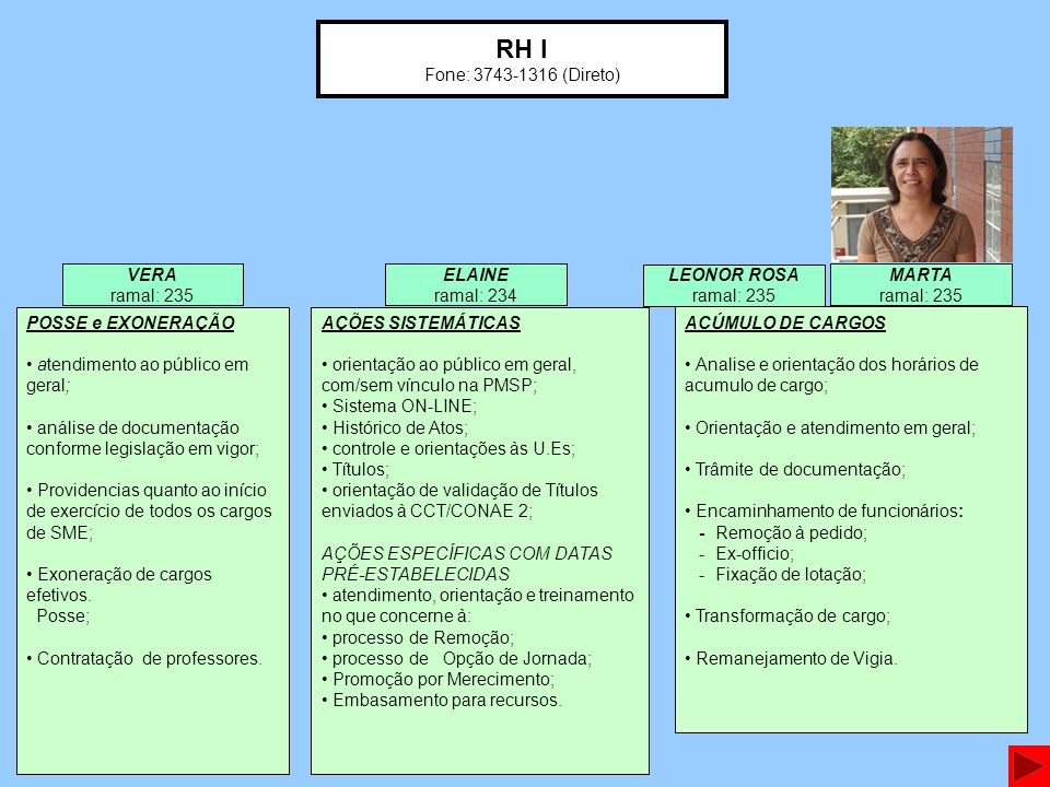 RH I Fone: 3743-1316 (Direto) VERA ramal: 235 MARTA ramal: 235 ELAINE ramal: 234 POSSE e EXONERAÇÃO atendimento ao público em geral; análise de documentação conforme legislação em vigor; Providencias quanto ao início de exercício de todos os cargos de SME; Exoneração de cargos efetivos.