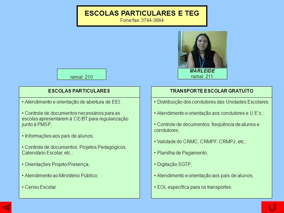 ESCOLAS PARTICULARES E TEG Fone/fax: 3744-3664 Atendimento e orientação de abertura de EEI; Controle de documentos necessários para as escolas apresen