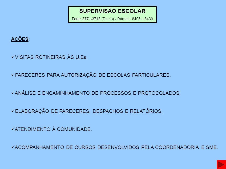 AÇÕES: VISITAS ROTINEIRAS ÀS U.Es.PARECERES PARA AUTORIZAÇÃO DE ESCOLAS PARTICULARES.