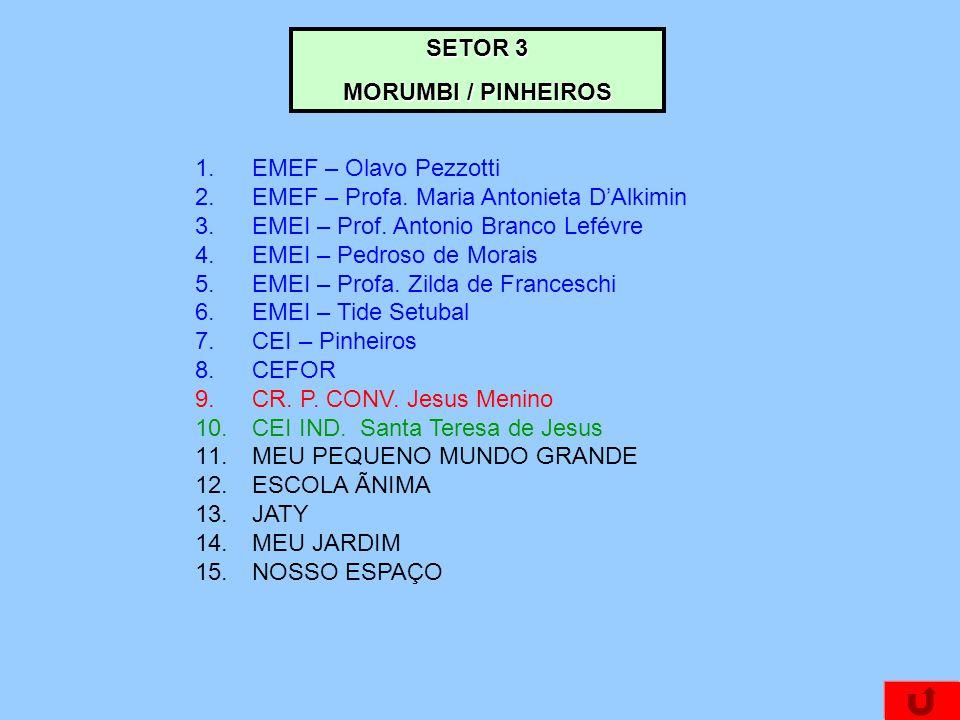 SETOR 3 MORUMBI / PINHEIROS 1.EMEF – Olavo Pezzotti 2.EMEF – Profa. Maria Antonieta DAlkimin 3.EMEI – Prof. Antonio Branco Lefévre 4.EMEI – Pedroso de