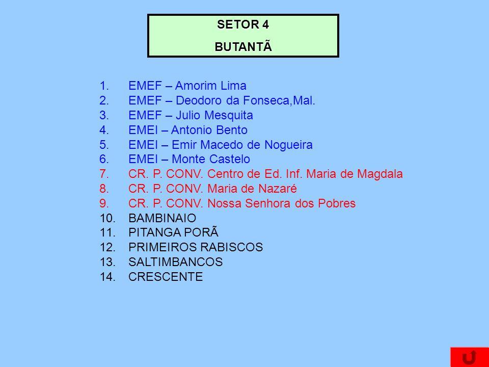 SETOR 4 BUTANTÃ 1.EMEF – Amorim Lima 2.EMEF – Deodoro da Fonseca,Mal. 3.EMEF – Julio Mesquita 4.EMEI – Antonio Bento 5.EMEI – Emir Macedo de Nogueira