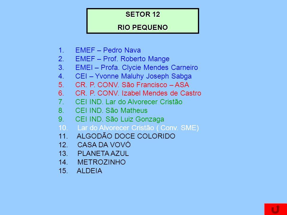 1.EMEF – Pedro Nava 2.EMEF – Prof.Roberto Mange 3.EMEI – Profa.