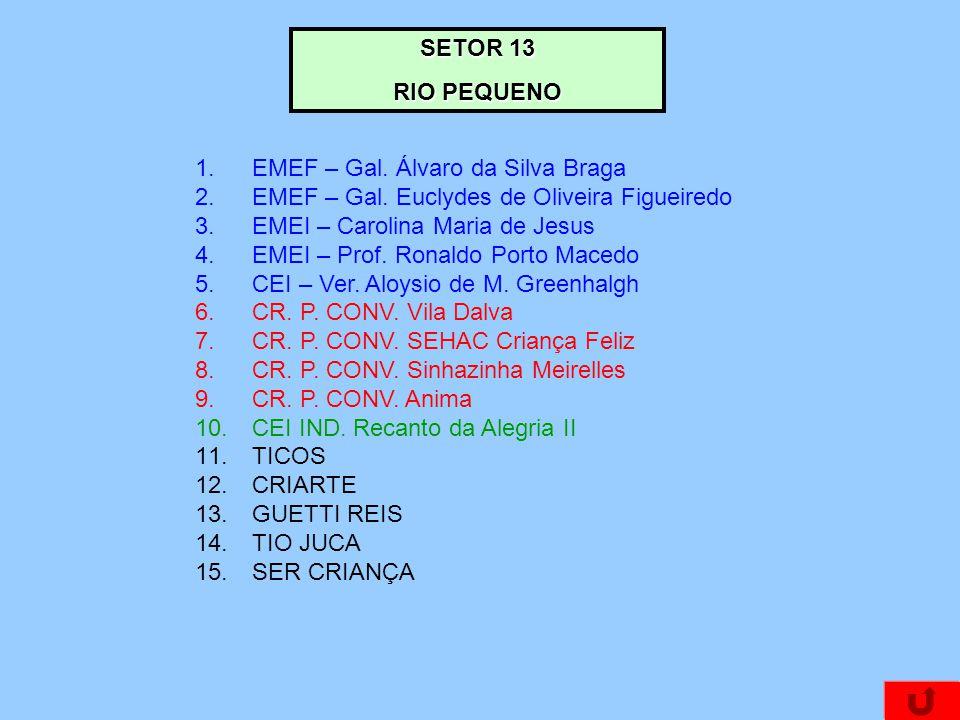 SETOR 13 RIO PEQUENO 1.EMEF – Gal. Álvaro da Silva Braga 2.EMEF – Gal. Euclydes de Oliveira Figueiredo 3.EMEI – Carolina Maria de Jesus 4.EMEI – Prof.