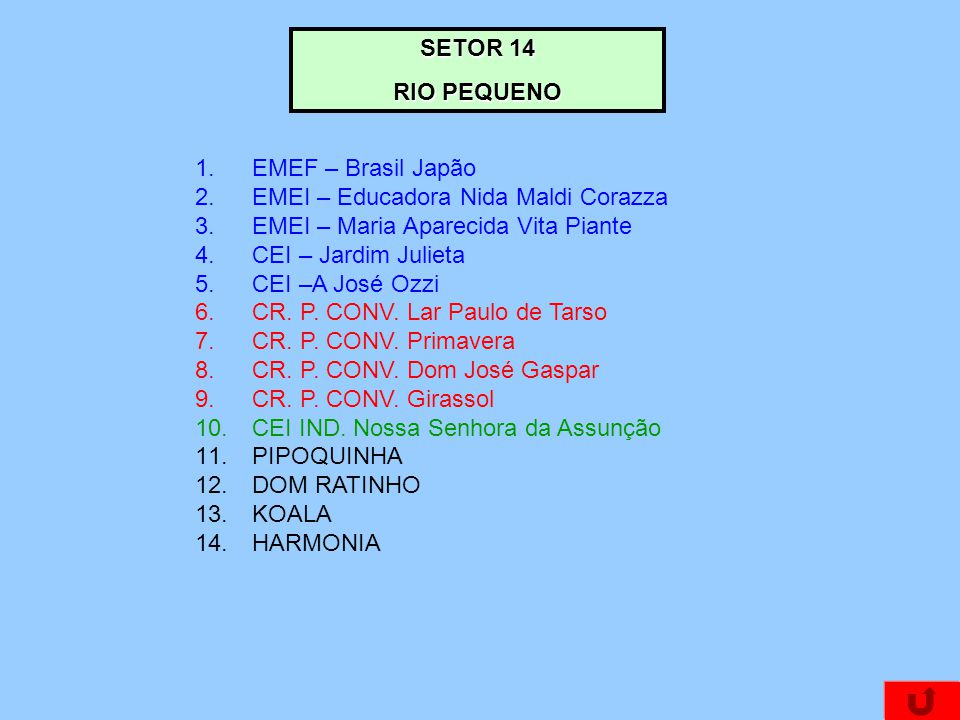 SETOR 14 RIO PEQUENO 1.EMEF – Brasil Japão 2.EMEI – Educadora Nida Maldi Corazza 3.EMEI – Maria Aparecida Vita Piante 4.CEI – Jardim Julieta 5.CEI –A
