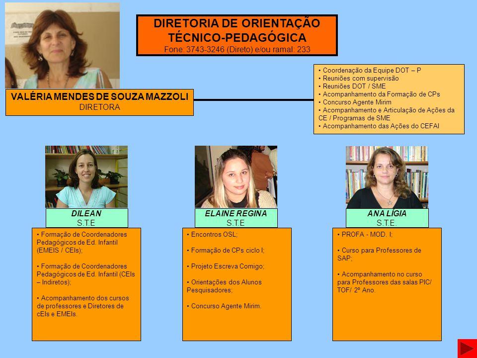 VALÉRIA MENDES DE SOUZA MAZZOLI DIRETORA Formação de Coordenadores Pedagógicos de Ed. Infantil (EMEIS / CEIs); Formação de Coordenadores Pedagógicos d