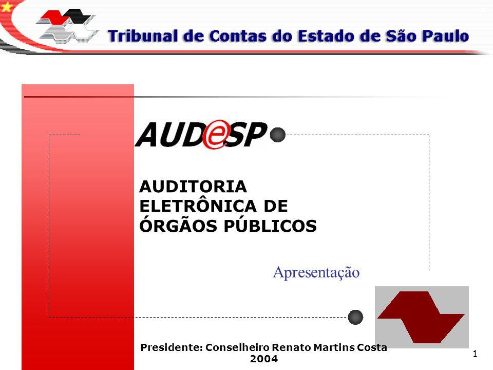 1 AUDITORIA ELETRÔNICA DE ÓRGÃOS PÚBLICOS X Presidente: Conselheiro Renato Martins Costa 2004 Apresentação