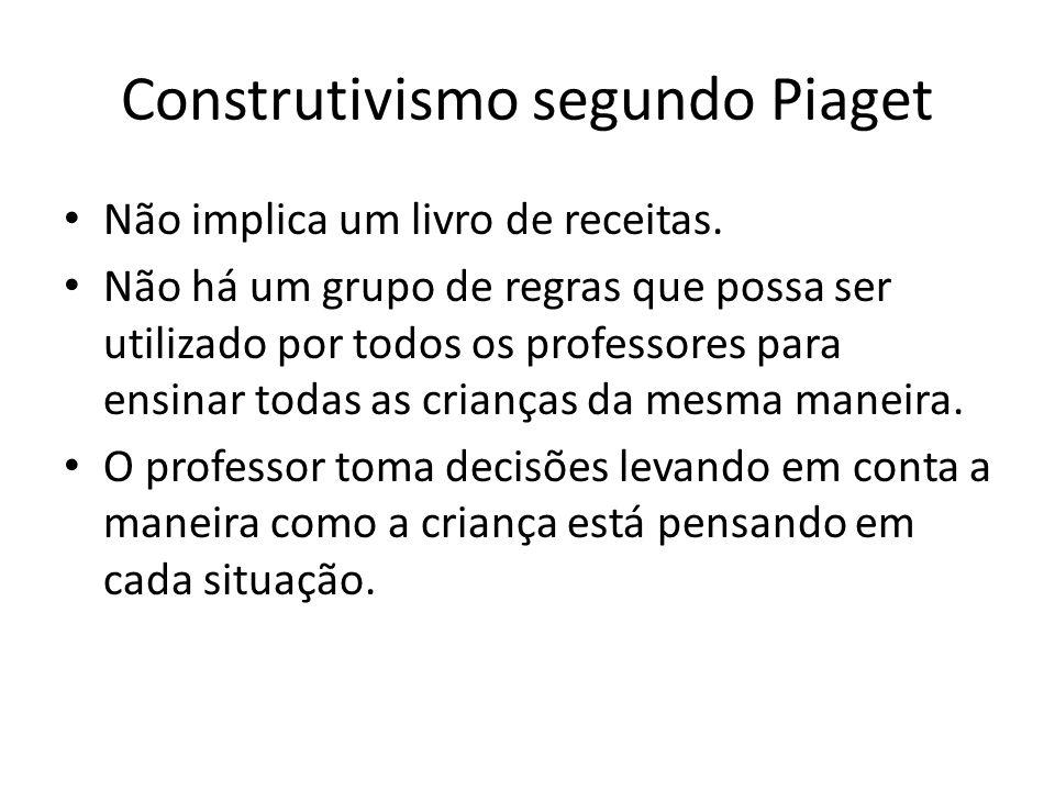 Construtivismo segundo Piaget Não implica um livro de receitas.