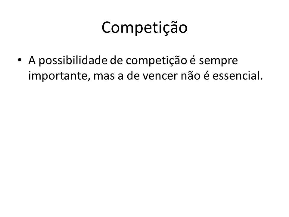 Competição A possibilidade de competição é sempre importante, mas a de vencer não é essencial.
