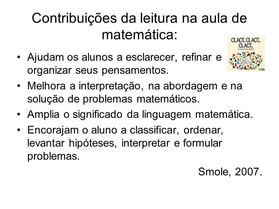 Contribuições da leitura na aula de matemática: Ajudam os alunos a esclarecer, refinar e organizar seus pensamentos. Melhora a interpretação, na abord