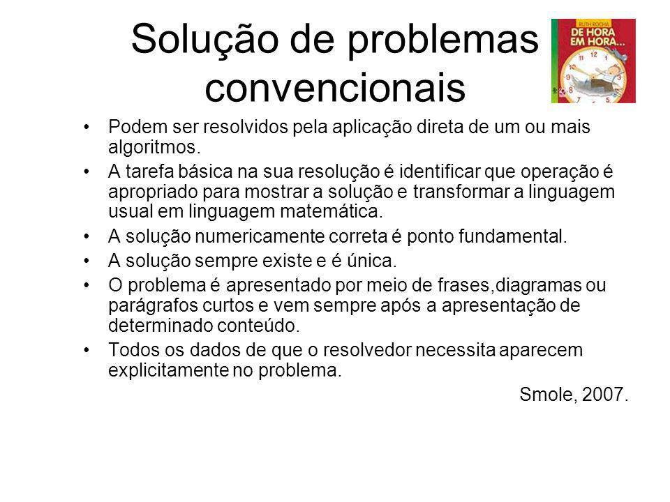 Solução de problemas convencionais Podem ser resolvidos pela aplicação direta de um ou mais algoritmos. A tarefa básica na sua resolução é identificar