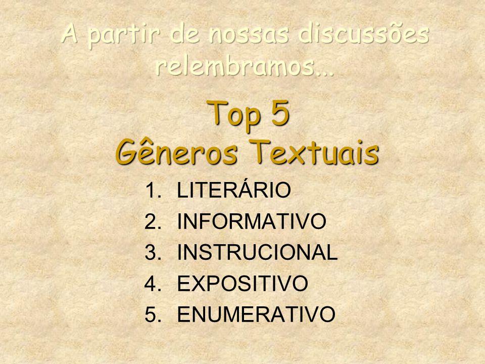 Top 5 Gêneros Textuais 1.LITERÁRIO 2.INFORMATIVO 3.INSTRUCIONAL 4.EXPOSITIVO 5.ENUMERATIVO