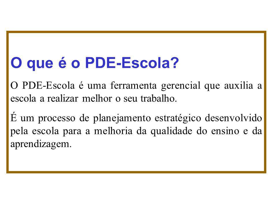 O que é o PDE-Escola? O PDE-Escola é uma ferramenta gerencial que auxilia a escola a realizar melhor o seu trabalho. É um processo de planejamento est