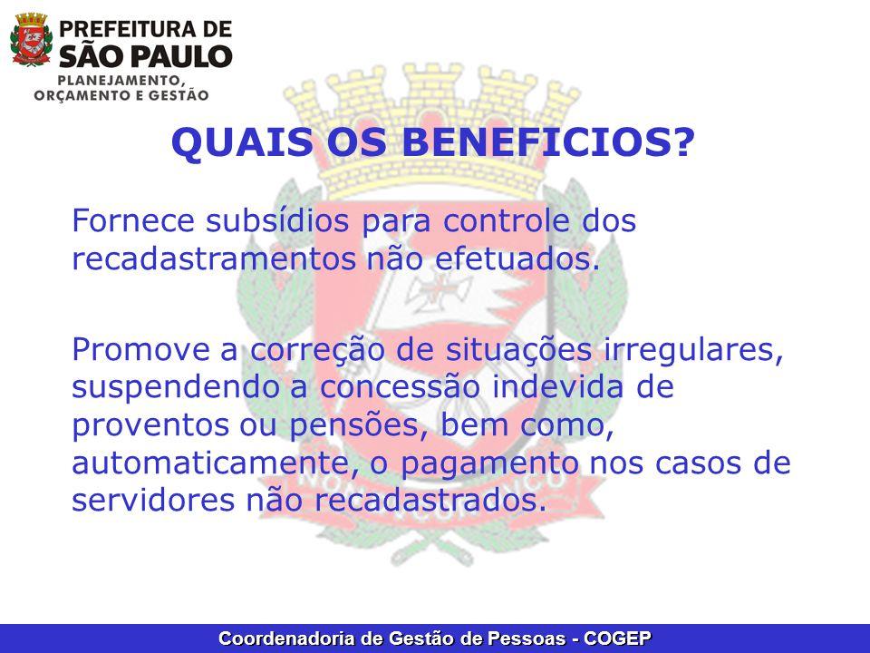 Coordenadoria de Gestão de Pessoas - COGEP QUAIS OS BENEFICIOS.