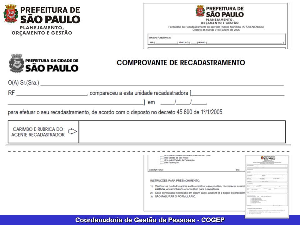 Coordenadoria de Gestão de Pessoas - COGEP Formulário e comprovante de recadastramento