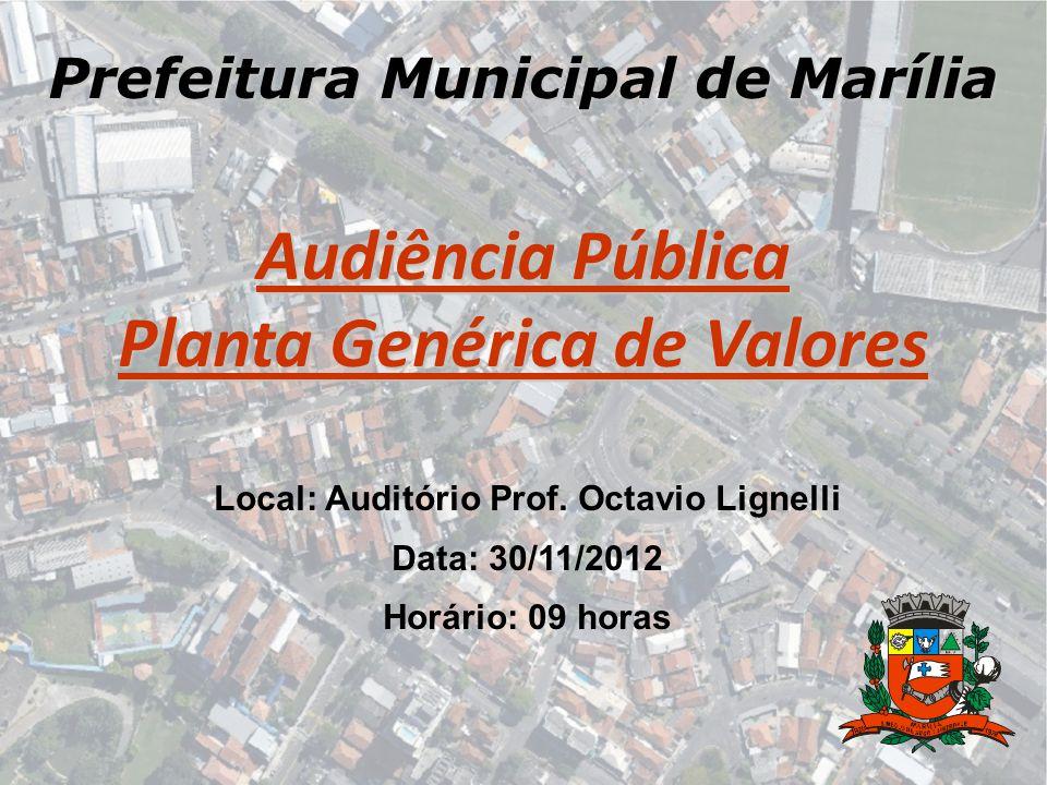 Prefeitura Municipal de Marília Audiência Pública Planta Genérica de Valores Local: Auditório Prof. Octavio Lignelli Data: 30/11/2012 Horário: 09 hora