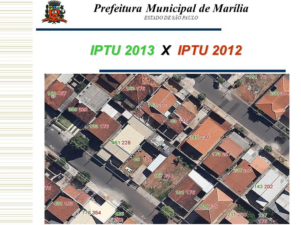 Prefeitura Municipal de Marília ESTADO DE SÃO PAULO Visão Geral IPTU 2013 X IPTU 2012