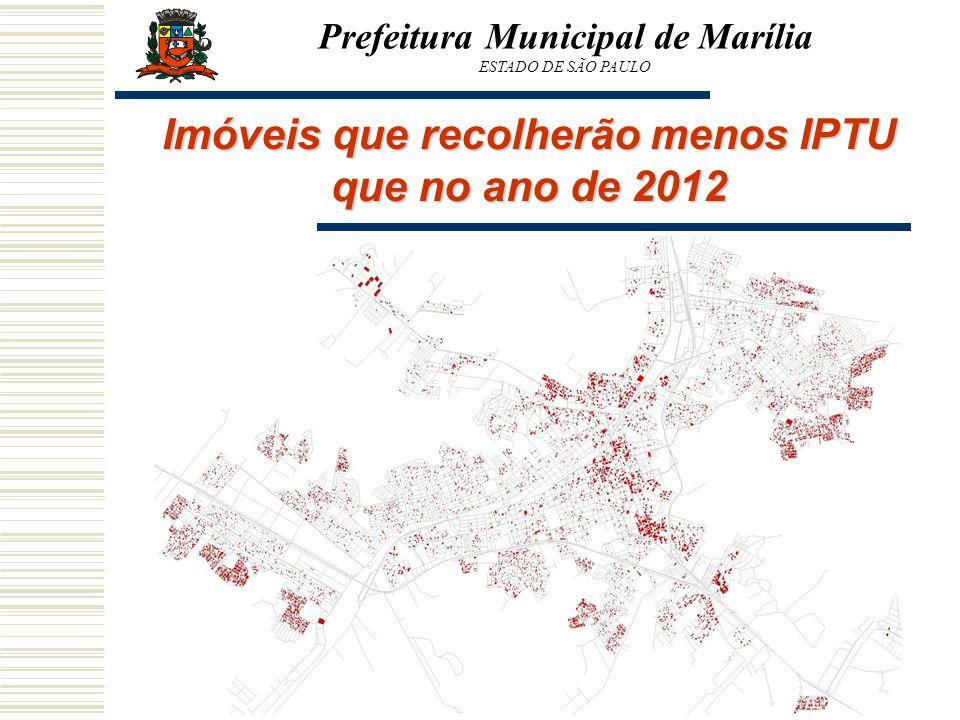 Prefeitura Municipal de Marília ESTADO DE SÃO PAULO Imóveis que recolherão menos IPTU que no ano de 2012