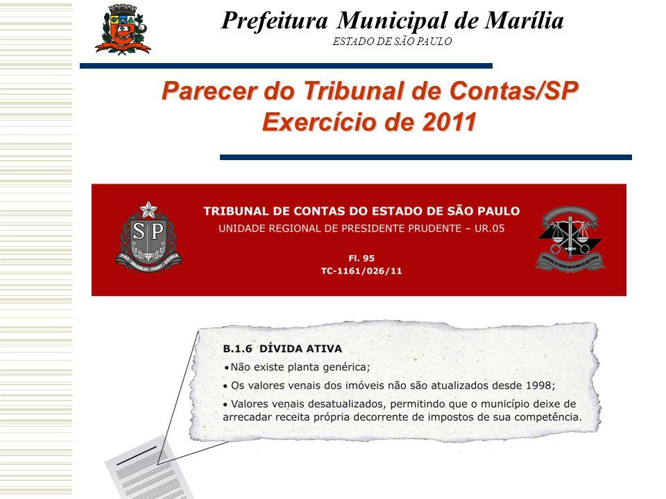 Parecer do Tribunal de Contas/SP Exercício de 2011 Prefeitura Municipal de Marília ESTADO DE SÃO PAULO