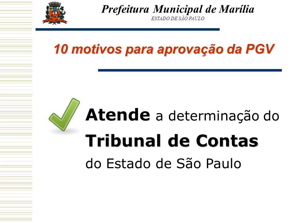 Prefeitura Municipal de Marília ESTADO DE SÃO PAULO 10 motivos para aprovação da PGV Tribunal de Contas Atende a determinação do Tribunal de Contas do