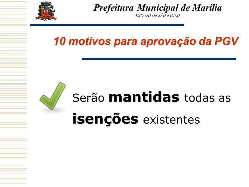 Prefeitura Municipal de Marília ESTADO DE SÃO PAULO 10 motivos para aprovação da PGV mantidas isenções Serão mantidas todas as isenções existentes