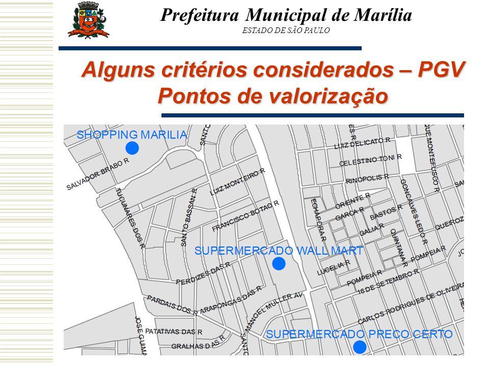Prefeitura Municipal de Marília ESTADO DE SÃO PAULO Alguns critérios considerados – PGV Pontos de valorização
