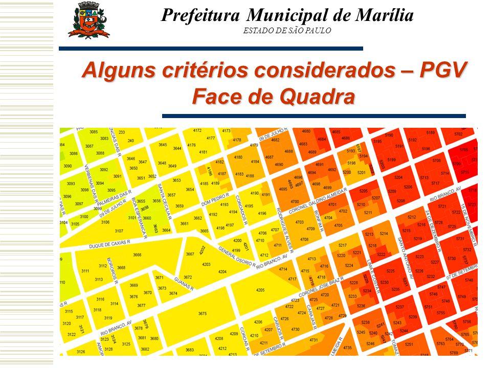 Prefeitura Municipal de Marília ESTADO DE SÃO PAULO Alguns critérios considerados – PGV Face de Quadra