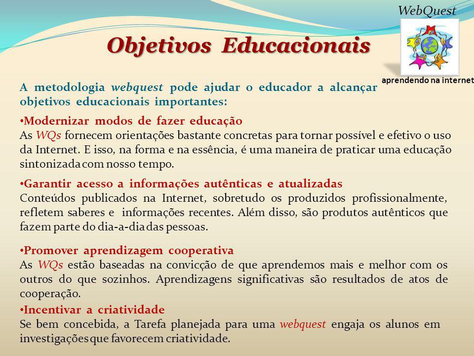 ObjetivosEducacionais Objetivos Educacionais A metodologia webquest pode ajudar o educador a alcançar objetivos educacionais importantes: Modernizar m