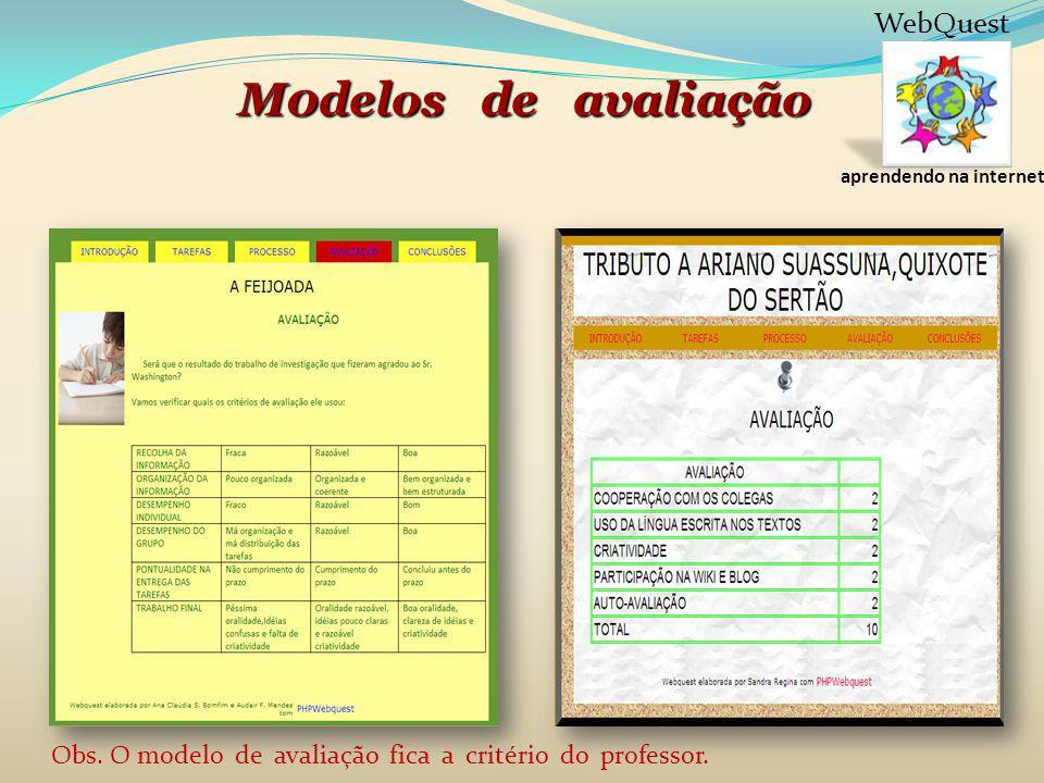 aprendendo na internet WebQuest M0delos de avaliação Obs. O modelo de avaliação fica a critério do professor.