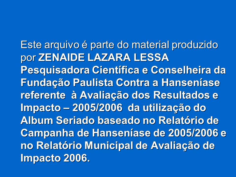 Este arquivo é parte do material produzido por ZENAIDE LAZARA LESSA Pesquisadora Científica e Conselheira da Fundação Paulista Contra a Hanseníase ref