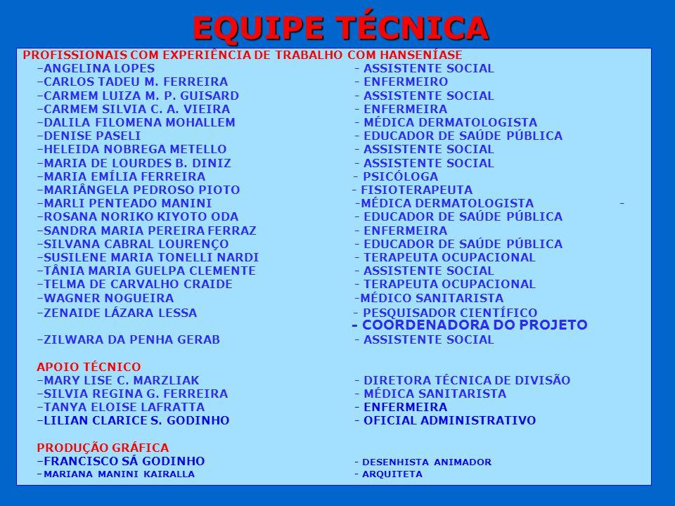 EQUIPE TÉCNICA PROFISSIONAIS COM EXPERIÊNCIA DE TRABALHO COM HANSENÍASE – –ANGELINA LOPES - ASSISTENTE SOCIAL – –CARLOS TADEU M. FERREIRA- ENFERMEIRO