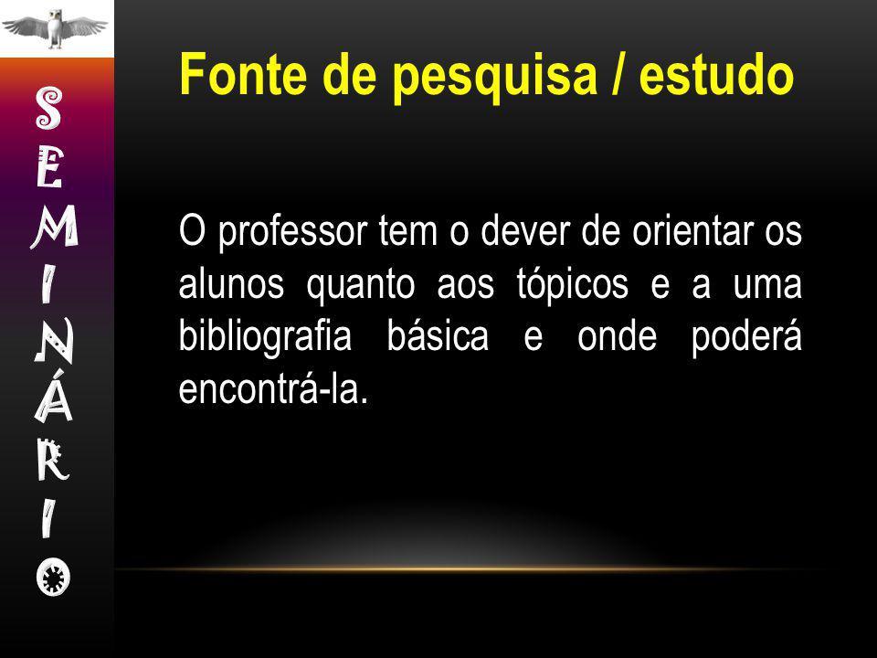 O professor tem o dever de orientar os alunos quanto aos tópicos e a uma bibliografia básica e onde poderá encontrá-la. Fonte de pesquisa / estudo