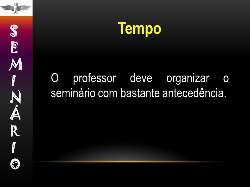 O professor deve organizar o seminário com bastante antecedência. Tempo