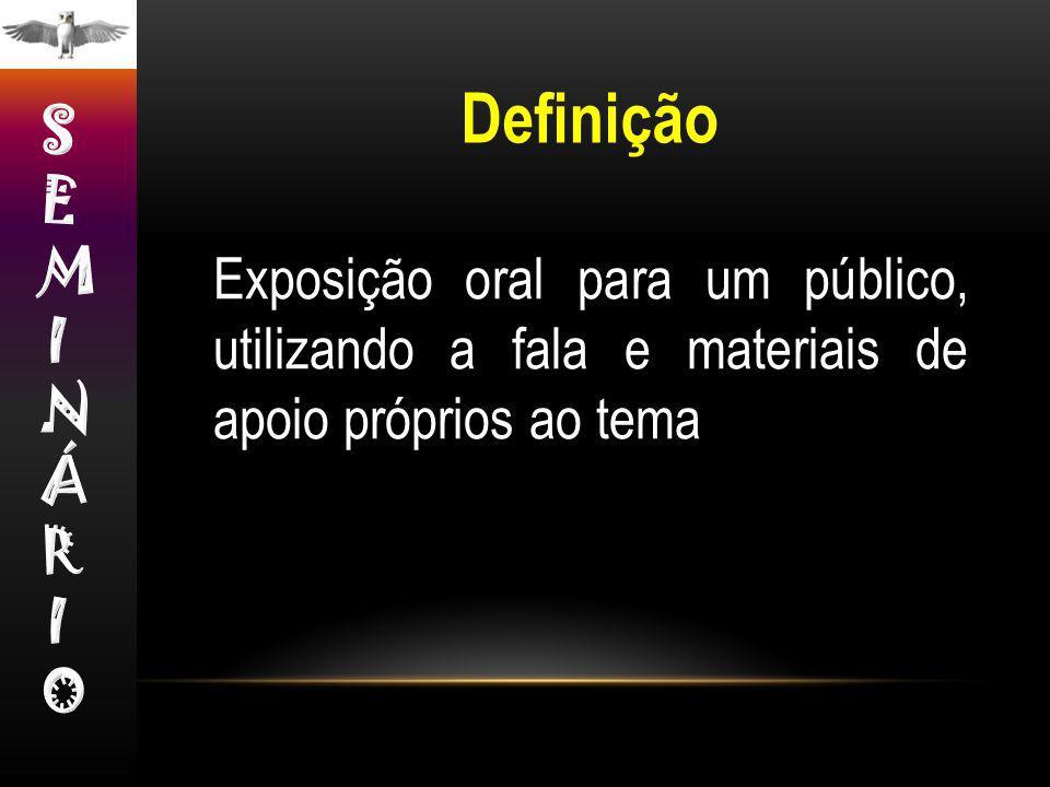 Exposição oral para um público, utilizando a fala e materiais de apoio próprios ao tema Definição