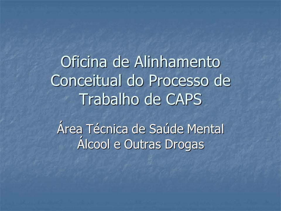 Oficina de Alinhamento Conceitual do Processo de Trabalho de CAPS Área Técnica de Saúde Mental Álcool e Outras Drogas