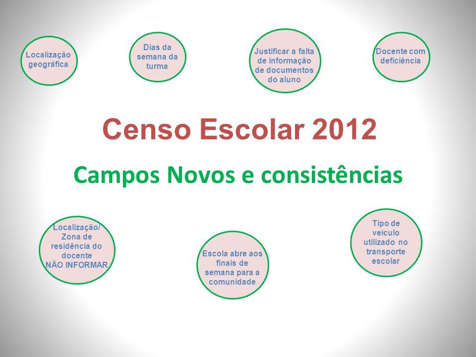 Campos Novos e consistências Censo Escolar 2012 Localização geográfica Escola abre aos finais de semana para a comunidade Docente com deficiência Loca