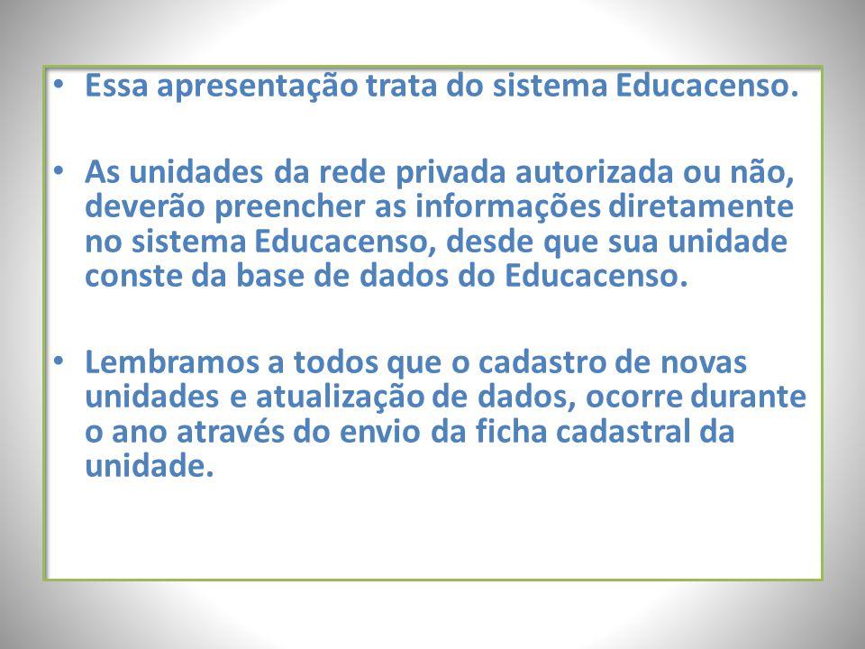 Essa apresentação trata do sistema Educacenso. As unidades da rede privada autorizada ou não, deverão preencher as informações diretamente no sistema
