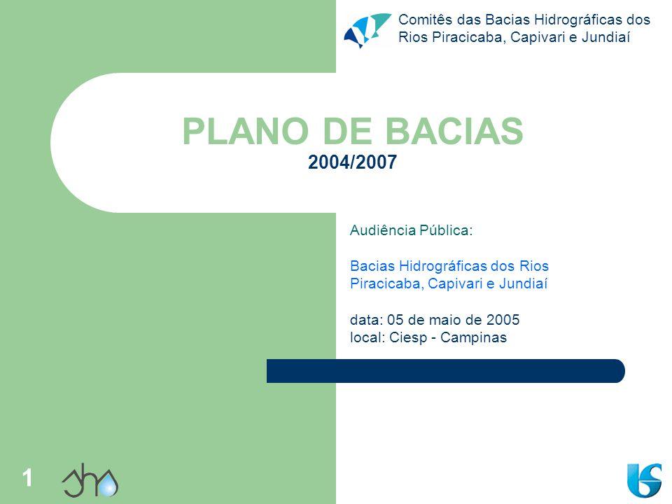 Comitês das Bacias Hidrográficas dos Rios Piracicaba, Capivari e Jundiaí 1 PLANO DE BACIAS 2004/2007 Audiência Pública: Bacias Hidrográficas dos Rios Piracicaba, Capivari e Jundiaí data: 05 de maio de 2005 local: Ciesp - Campinas