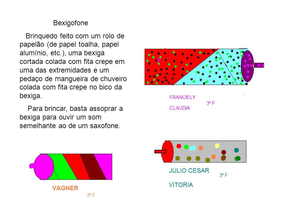 Bexigofone Brinquedo feito com um rolo de papelão (de papel toalha, papel alumínio, etc.), uma bexiga cortada colada com fita crepe em uma das extremi