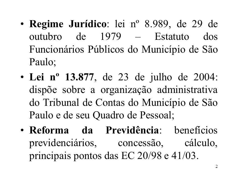 3 LEI Nº 8.989/79: dispõe sobre o Estatuto dos Funcionários Públicos do Município de São Paulo.