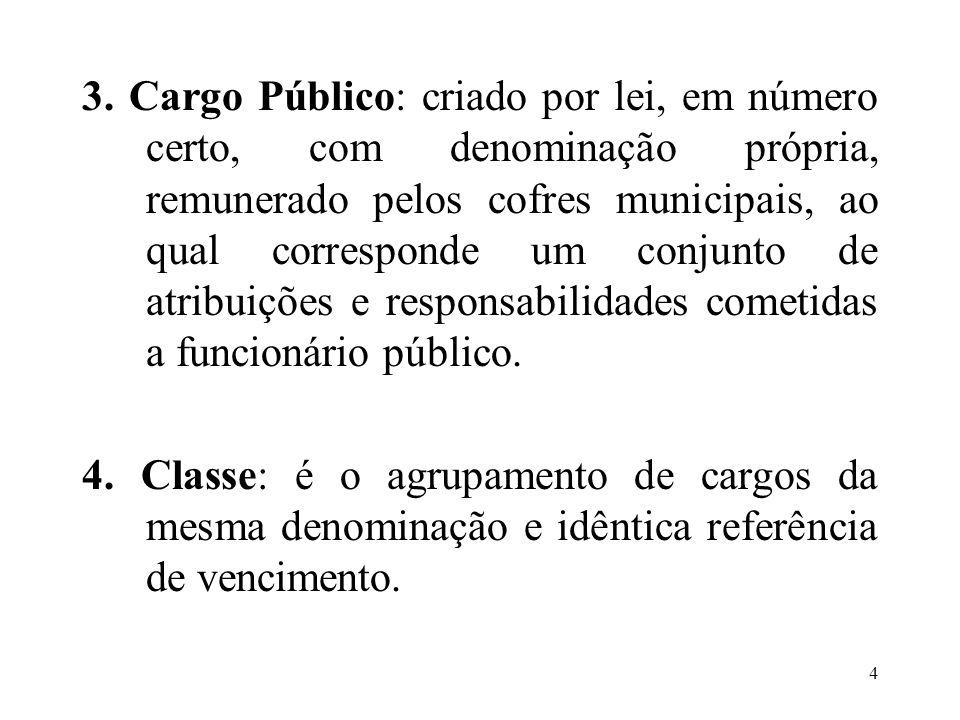 4 3. Cargo Público: criado por lei, em número certo, com denominação própria, remunerado pelos cofres municipais, ao qual corresponde um conjunto de a
