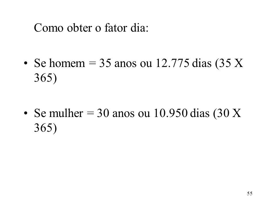 56 Cálculo da regra de 3 para obter o fator dia: 12.775 dias > 100% 1 dia > x X = 1 x 100 : 12.775 = 0,0078277 (homem)