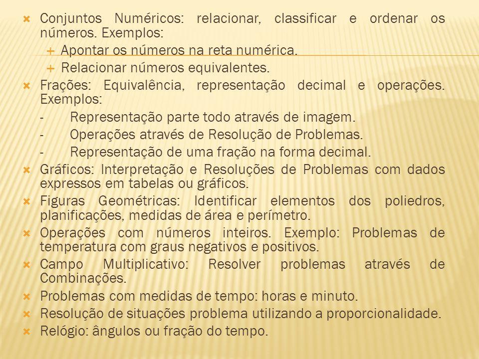 Conjuntos Numéricos: relacionar, classificar e ordenar os números.