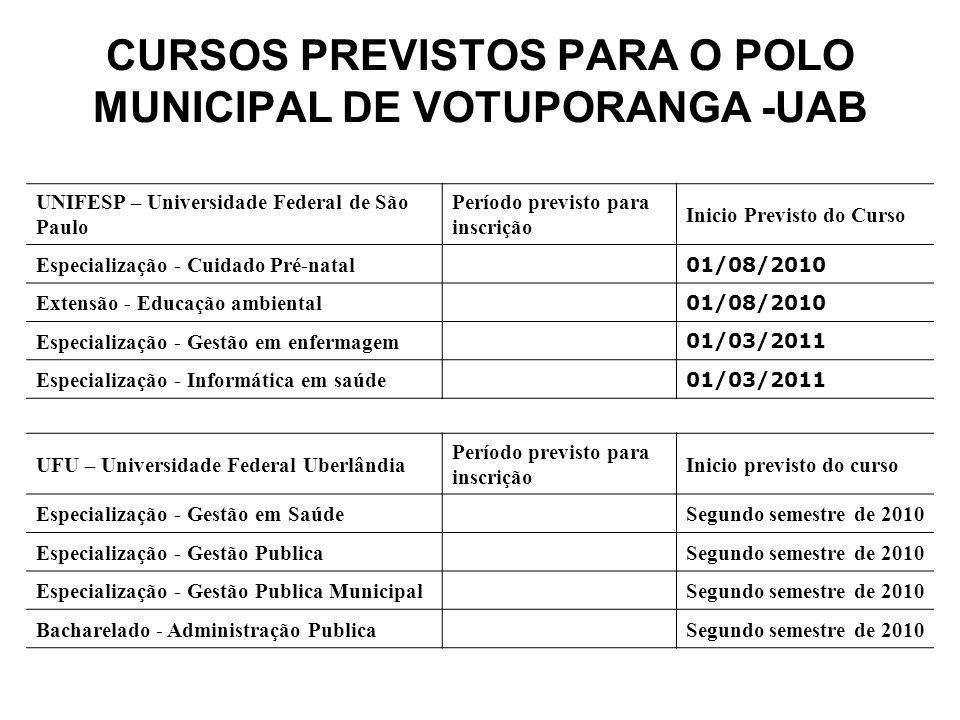 CURSOS PREVISTOS PARA O POLO MUNICIPAL DE VOTUPORANGA -UAB UNIFESP – Universidade Federal de São Paulo Período previsto para inscrição Inicio Previsto