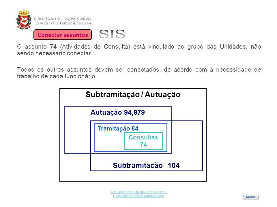 Menu www.prefeitura.sp.gov.br/processos Cadastramento de Operadores O assunto 74 (Atividades de Consulta) está vinculado ao grupo das Unidades, não se