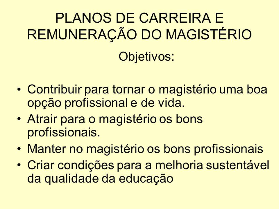 PLANOS DE CARREIRA E REMUNERAÇÃO DO MAGISTÉRIO Objetivos: Contribuir para tornar o magistério uma boa opção profissional e de vida. Atrair para o magi