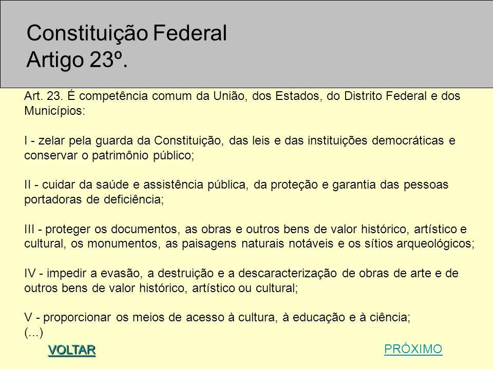 Art. 23. É competência comum da União, dos Estados, do Distrito Federal e dos Municípios: I - zelar pela guarda da Constituição, das leis e das instit