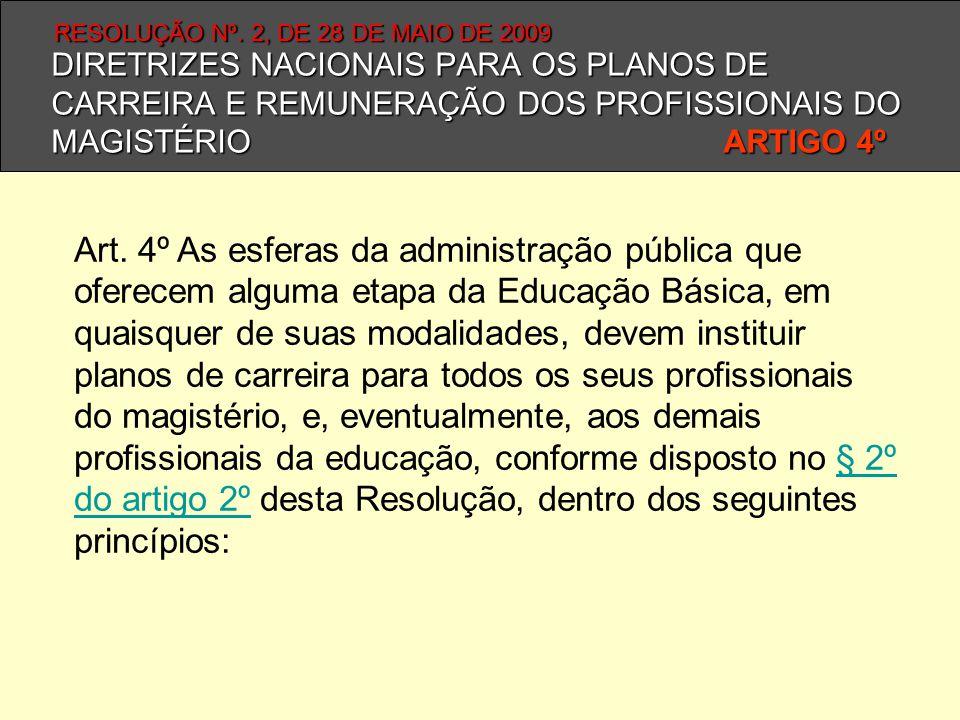 Art. 4º As esferas da administração pública que oferecem alguma etapa da Educação Básica, em quaisquer de suas modalidades, devem instituir planos de