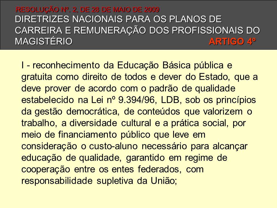 I - reconhecimento da Educação Básica pública e gratuita como direito de todos e dever do Estado, que a deve prover de acordo com o padrão de qualidad